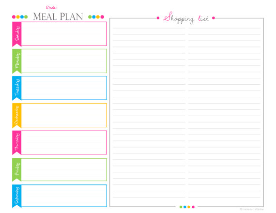 Weekly Meal PlanningShopping List Pdf Planner Landscape Meal Or
