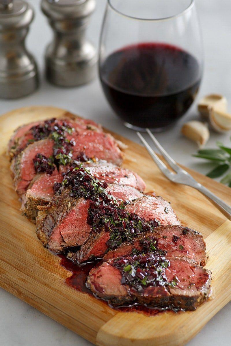 Roasted Beef Tenderloin with Merlot Shallot Sauce