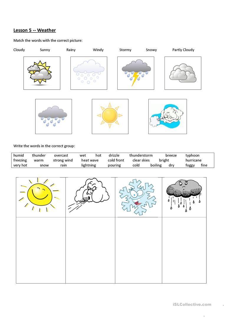Weather Worksheet Free Esl Printable Worksheets Made By Teachers Weather Worksheets Weather Science Lessons Weather Science