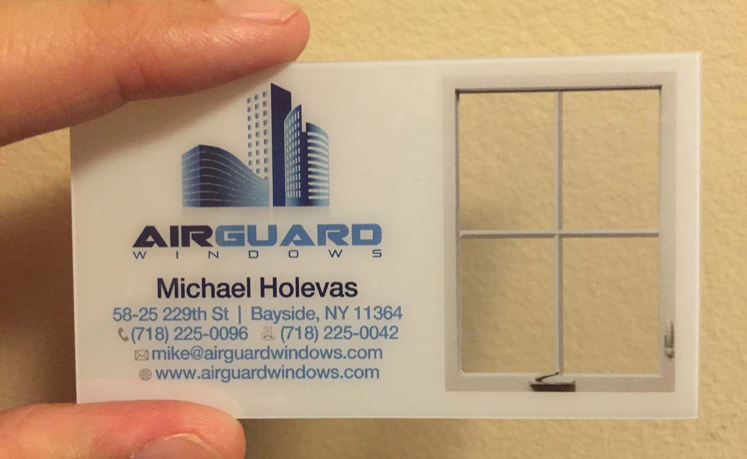 The following design is a custom made clear plastic business card ...