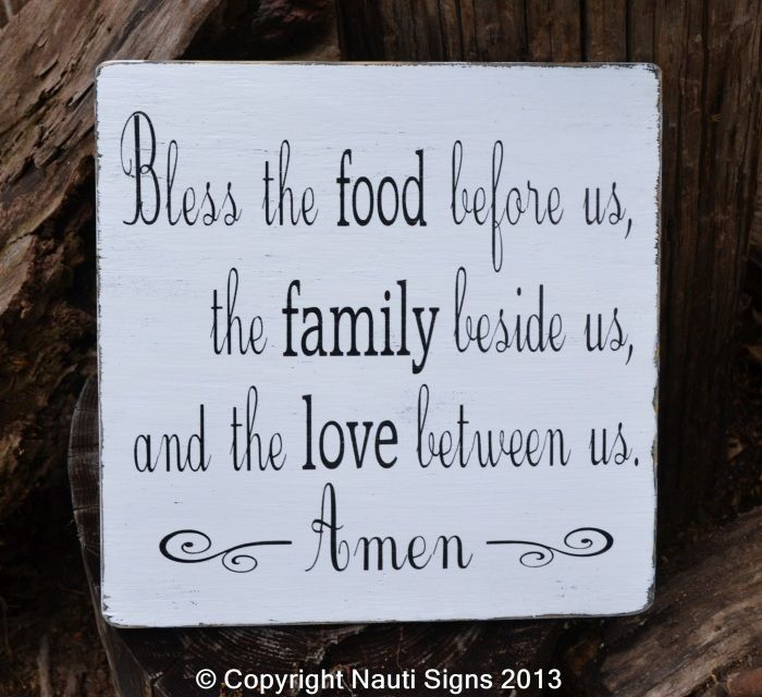 Kitchen Blessing Wall Decor: Bless The Food Before Us, Rustic Blessings Sign, Vintage
