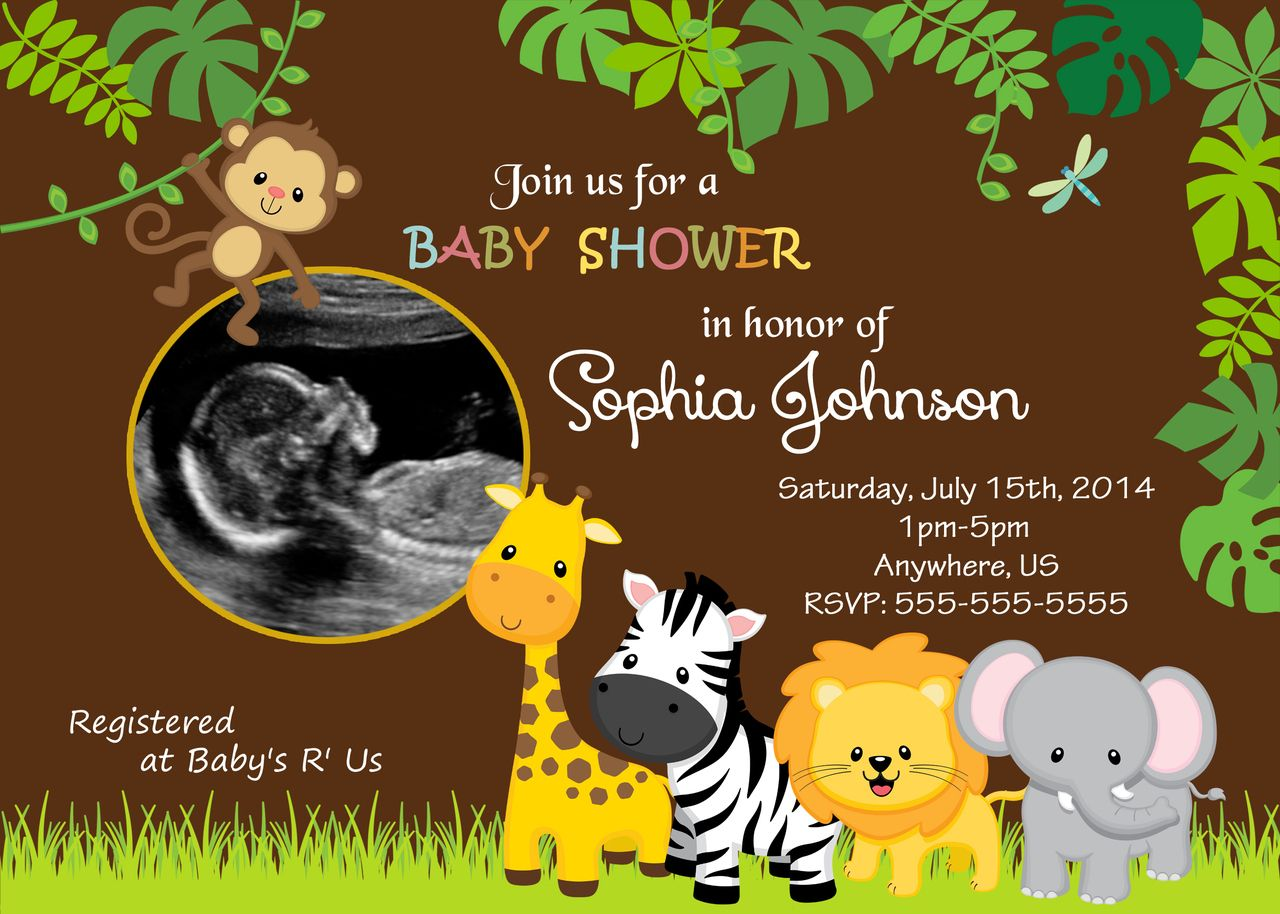 safari jungle shower invitations