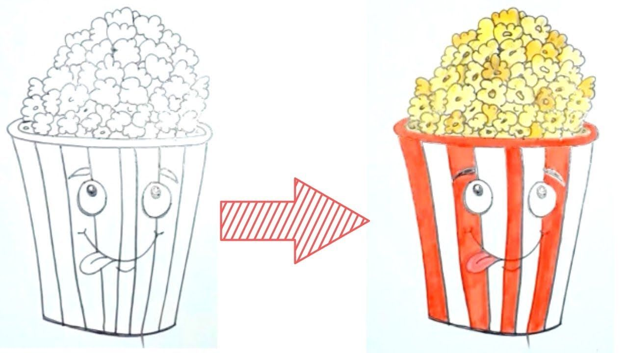 How To Draw Popcorn Bucket Easy Popcorn Movie Drawing Draw