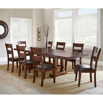 Lukas 9 Piece Dining Set 1600 2 Leaves Says Self Storing Not Butterfly Go Contemporary Decor Living Room Dining Room Furnishings Farmhouse Dining Room