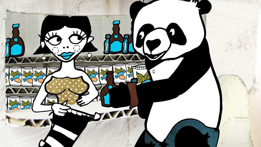 WANDERPANDA - trickfilmlounge, illustration, handdrawn, panda, kiosk, girl