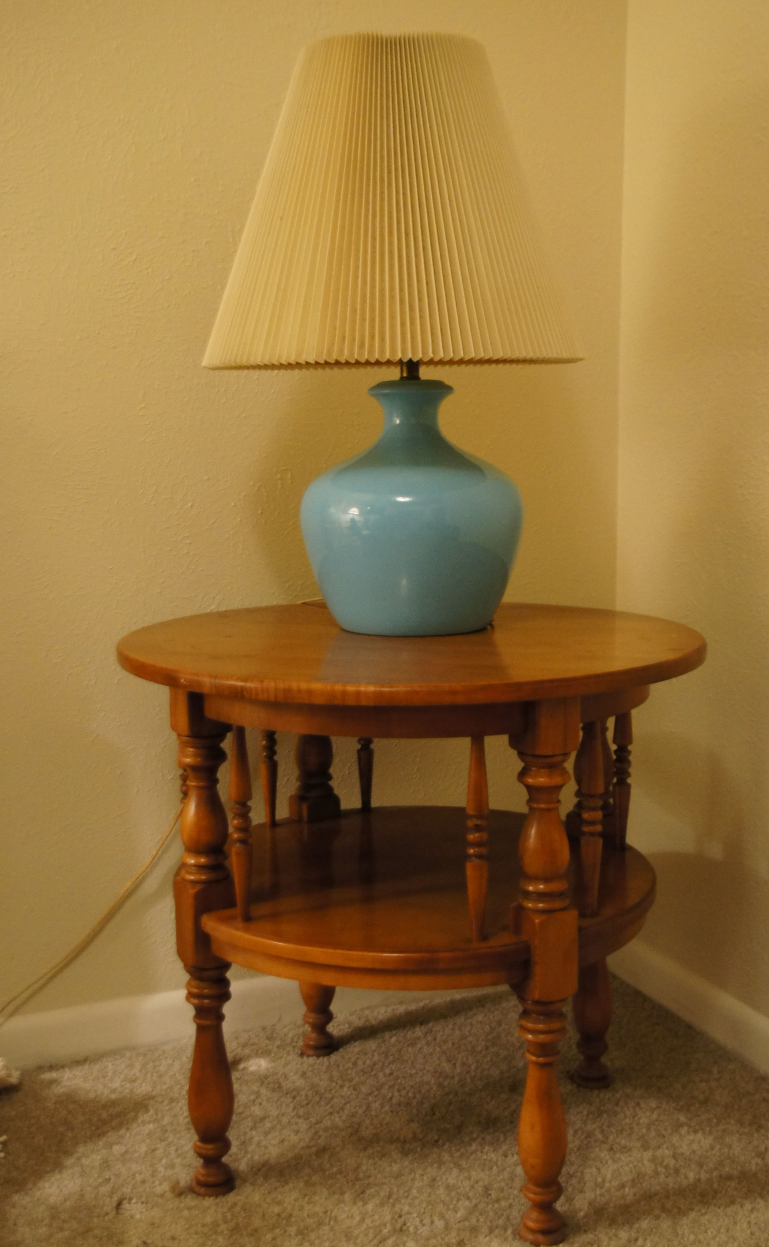 Vintage Blue Lamp And Mid Century Colonial Maple Two Tiered Side Table