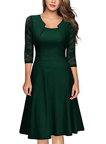 7630d797bdb9bd Miusol Damen Abendkleid Elegant Cocktailkleid Vintage Kleider 3/4 Arm mit  Spitzen Knielang Party Kleid Gruen Gr.XS