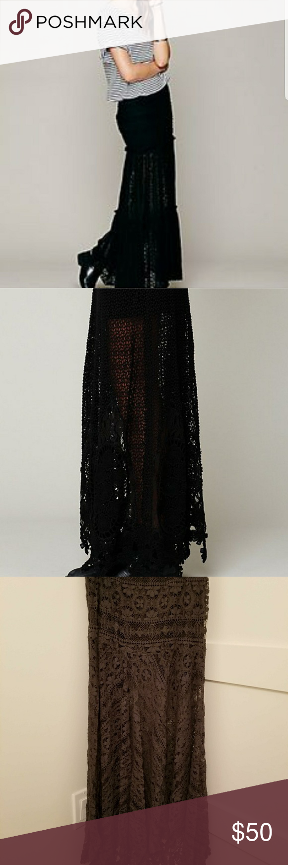 Black Long Lace Free People skirt Rated as one of pinterest best black lace skirts, free people skirt, in great shape, as you can see works well with little booties, casual or dress it up. Super fun skirt. Short slip underneath so a little skin shows thru. Elastic waist size small Free People Skirts Maxi