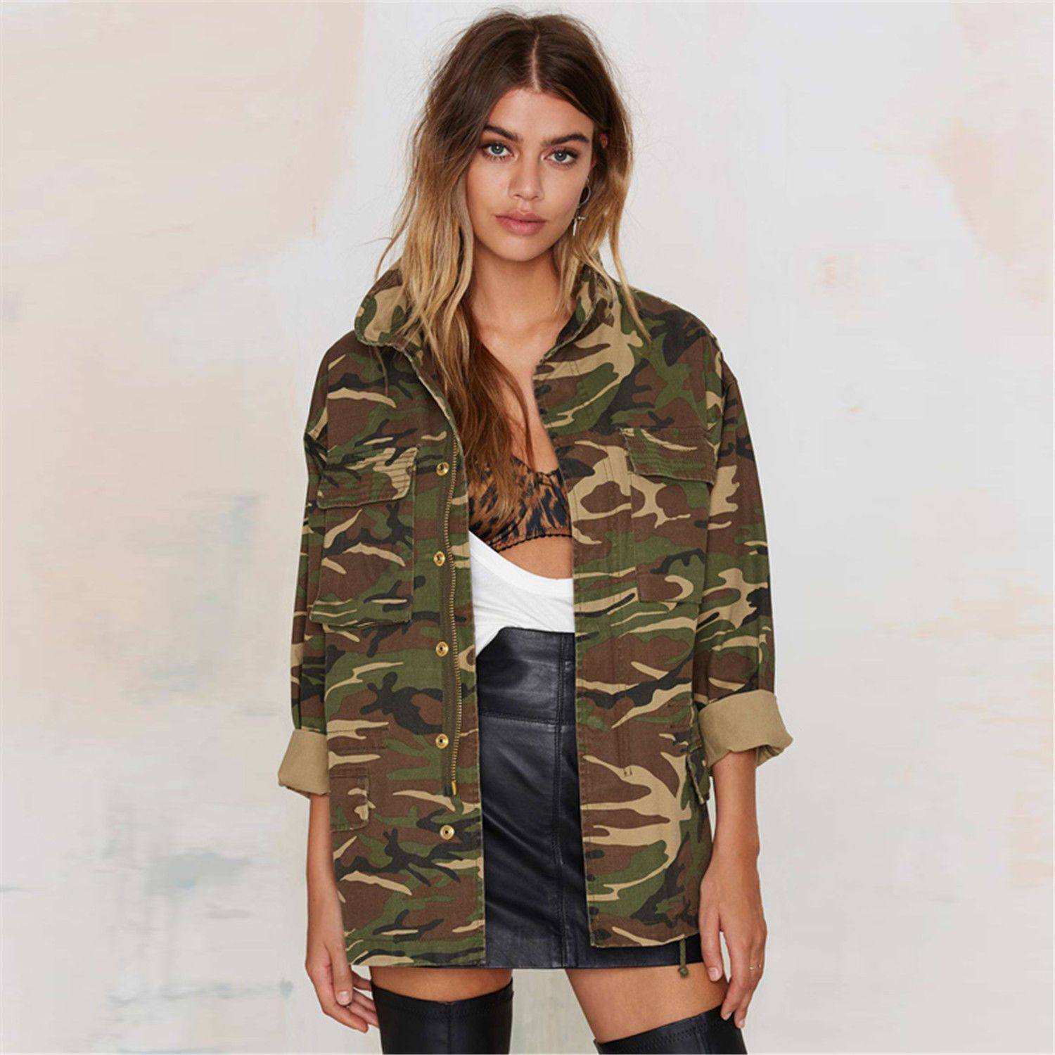 Longline Military Utility Shacket Jacket Top In Camo Camouflage Print Army  Green