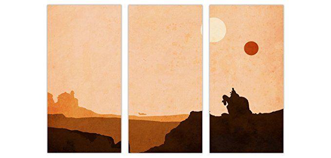 Tatooine Star Wars Desert World 3 Panel Gerahmter Leinwand ...