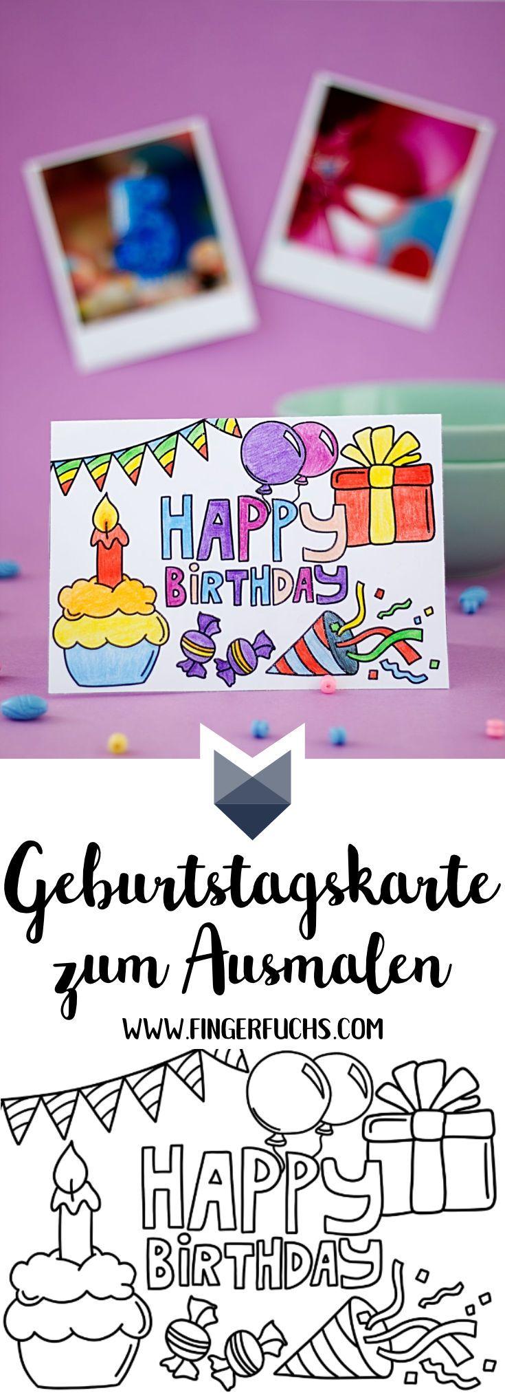 Geburtstagskarte Zum Ausmalen Pretty Crafty Pinterest
