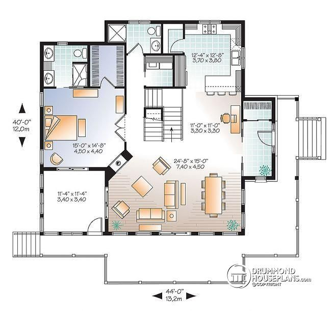 W3914 v2 4 bedroom lakefront cottage style house plan for Waterfront cottage house plans