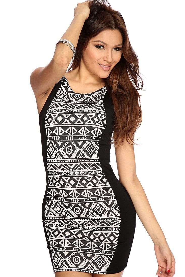 Black white ethnic strappy cut out sexy dress dress pinterest
