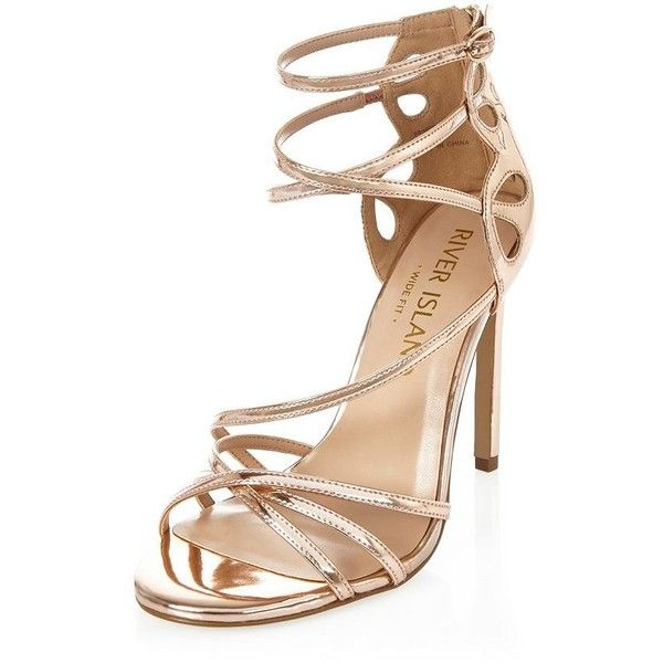 Womens Rose Gold tone strappy sandals River Island