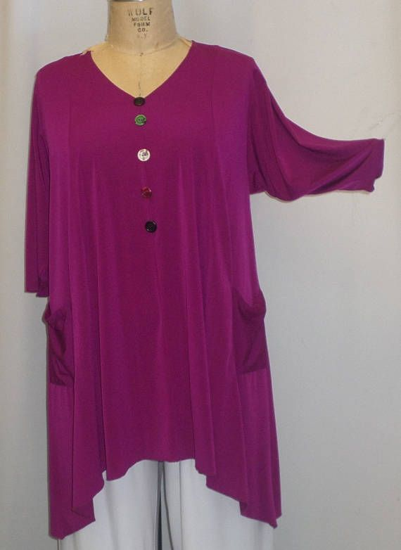 c0f7415d3fc Coco and Juan, Lagenlook, Plus Size Tunic Top, Fuchsia, Traveler Knit  Trapeze, Women's Tunic, Size 1 (fits 1X/2X) Bust 50 inches