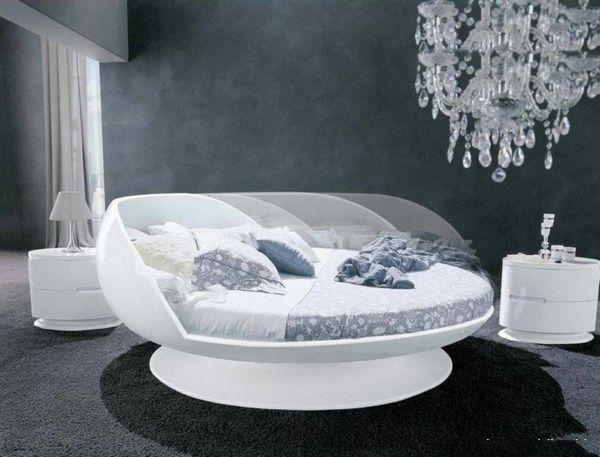 rundes bett - schwarz-weißes schlafzimmer   schlafzimmer ideen, Schlafzimmer design