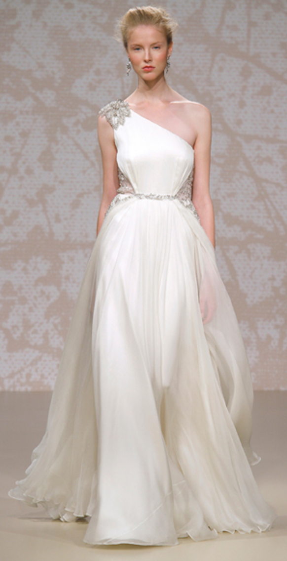 Preston Bailey Bride Ideas Jenny Packham Silk Chiffon Wedding Gown