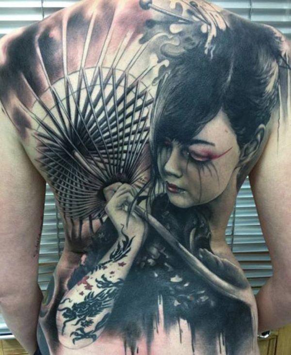 Tatuagem De Gueixa Sombreada Com Efeito 3d Fotos Tatuagem