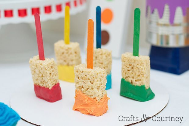 Easy DIY Kids Art Themed Birthday Party - Art party foods, Birthday party food, Kids painting party, Kids birthday party food, Painting birthday party, Art themed party - Want a fun and COLORFUL idea for your kids birthday  How 'bout a doityourself art themed birthday party  Your kids will LOVE showing off their artwork!