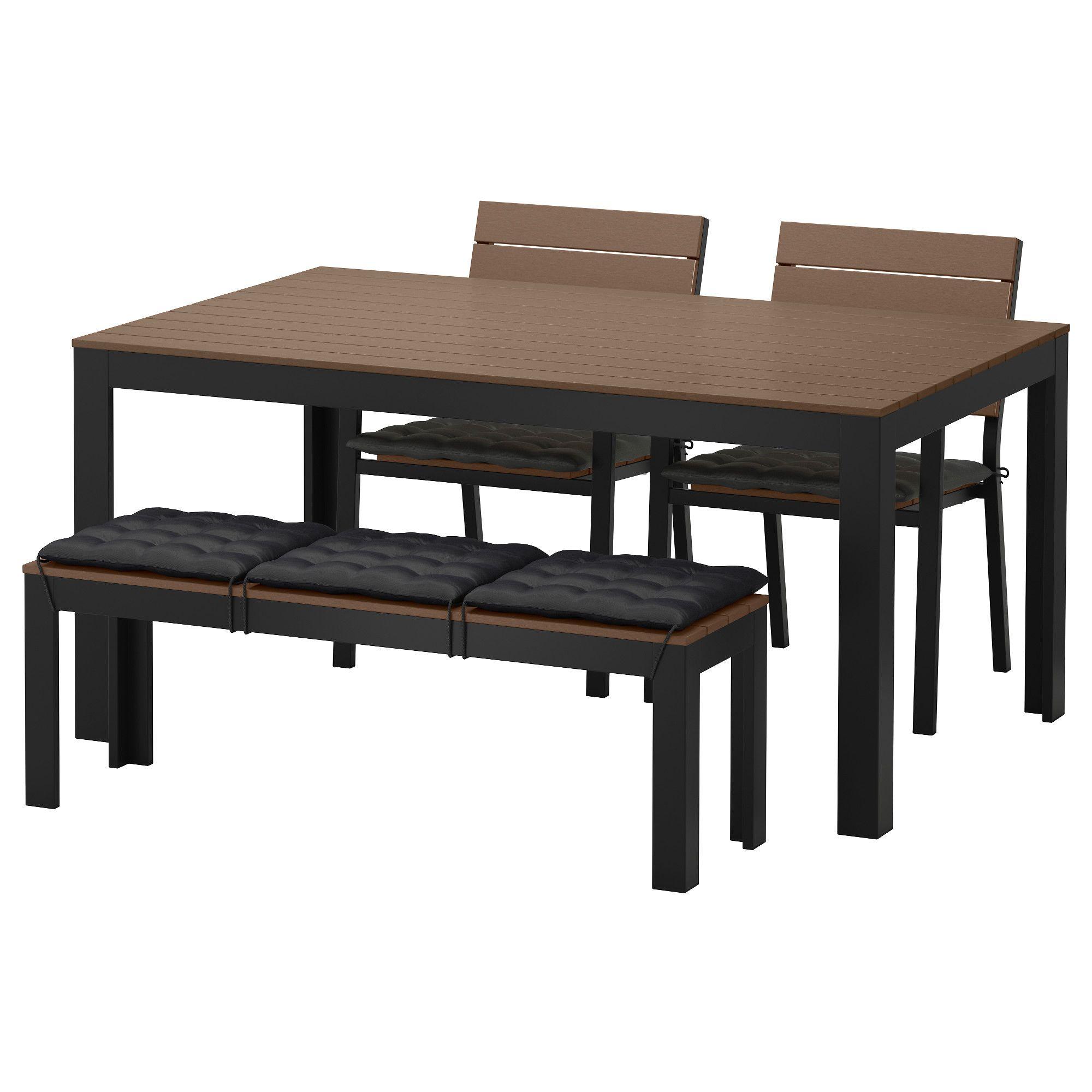 FALSTER, Tisch+2 Stühle+Bank/außen, schwarzbraun, schwarz Jetzt ...