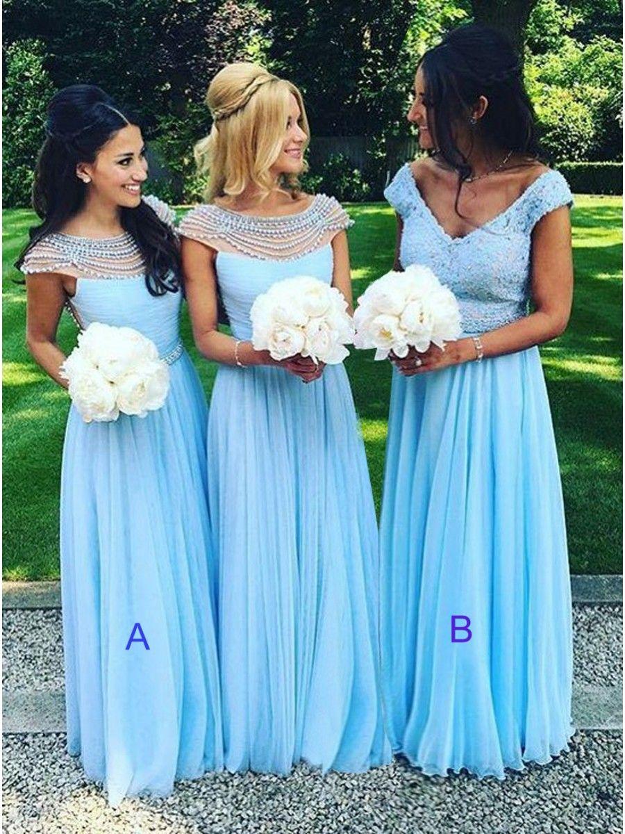 Long Blue Beaded Chiffon Floor-Length Wedding Party Dresses ...
