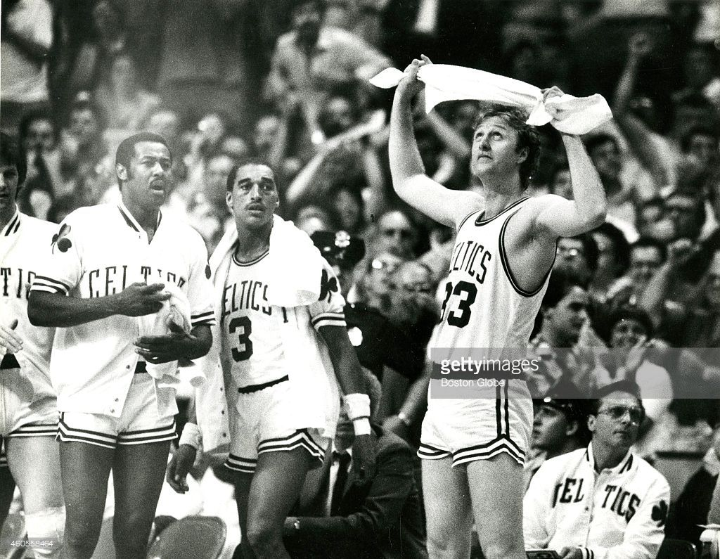 M L Carr Dennis Johnson and Larry Bird during Game 7 of the NBA