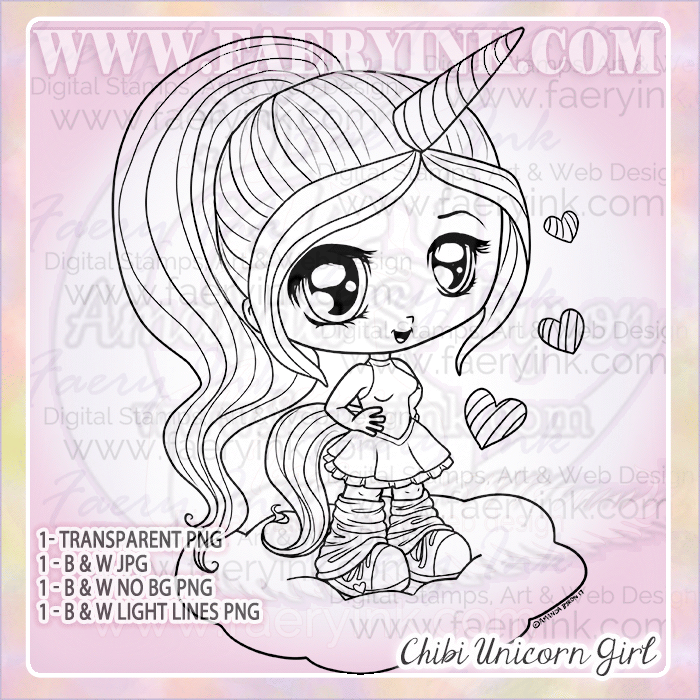 Chibi Unicorn Girl by Amanda S Byron