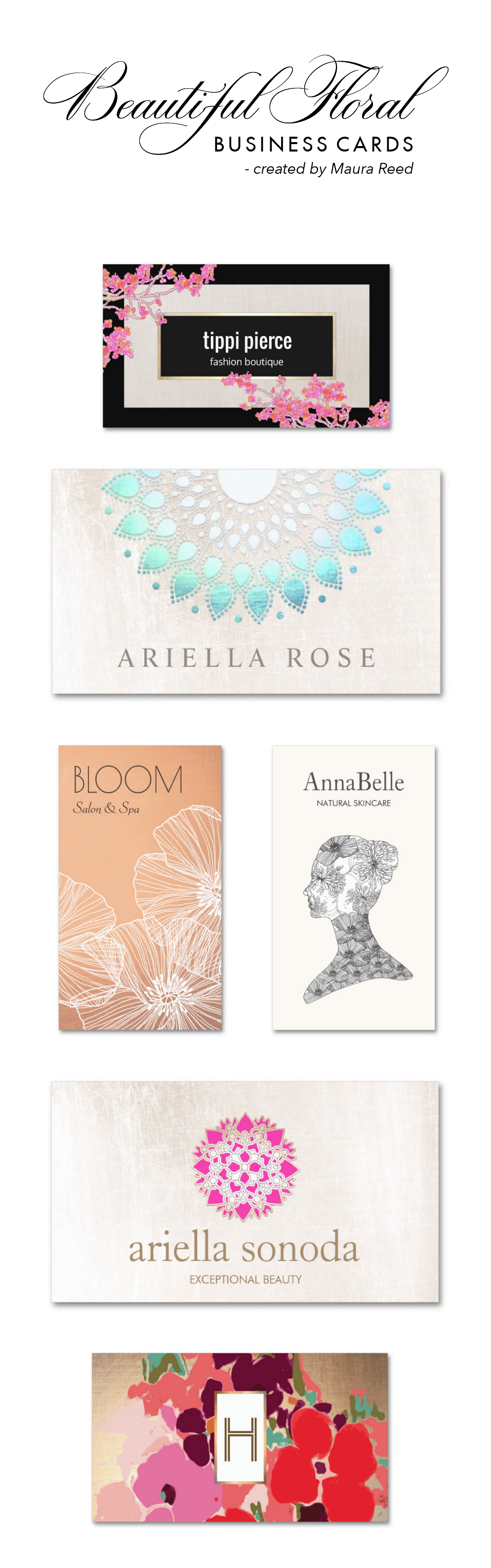 Elegant Floral business card designs perfect for florists, makeup ...