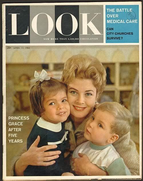 LOOK Magazine (April 11th, 1961). Princess Grace with Caroline and Albert.