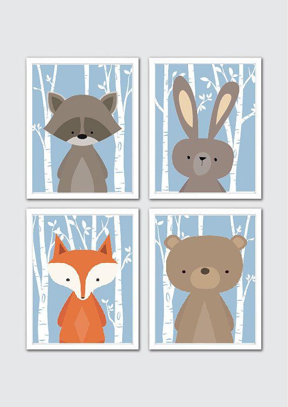 Woodland Nursery Prints Creatures Art For