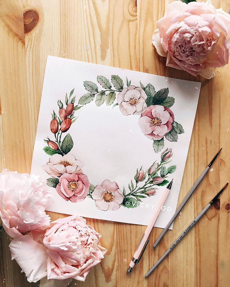 Открытка акварелью цветы