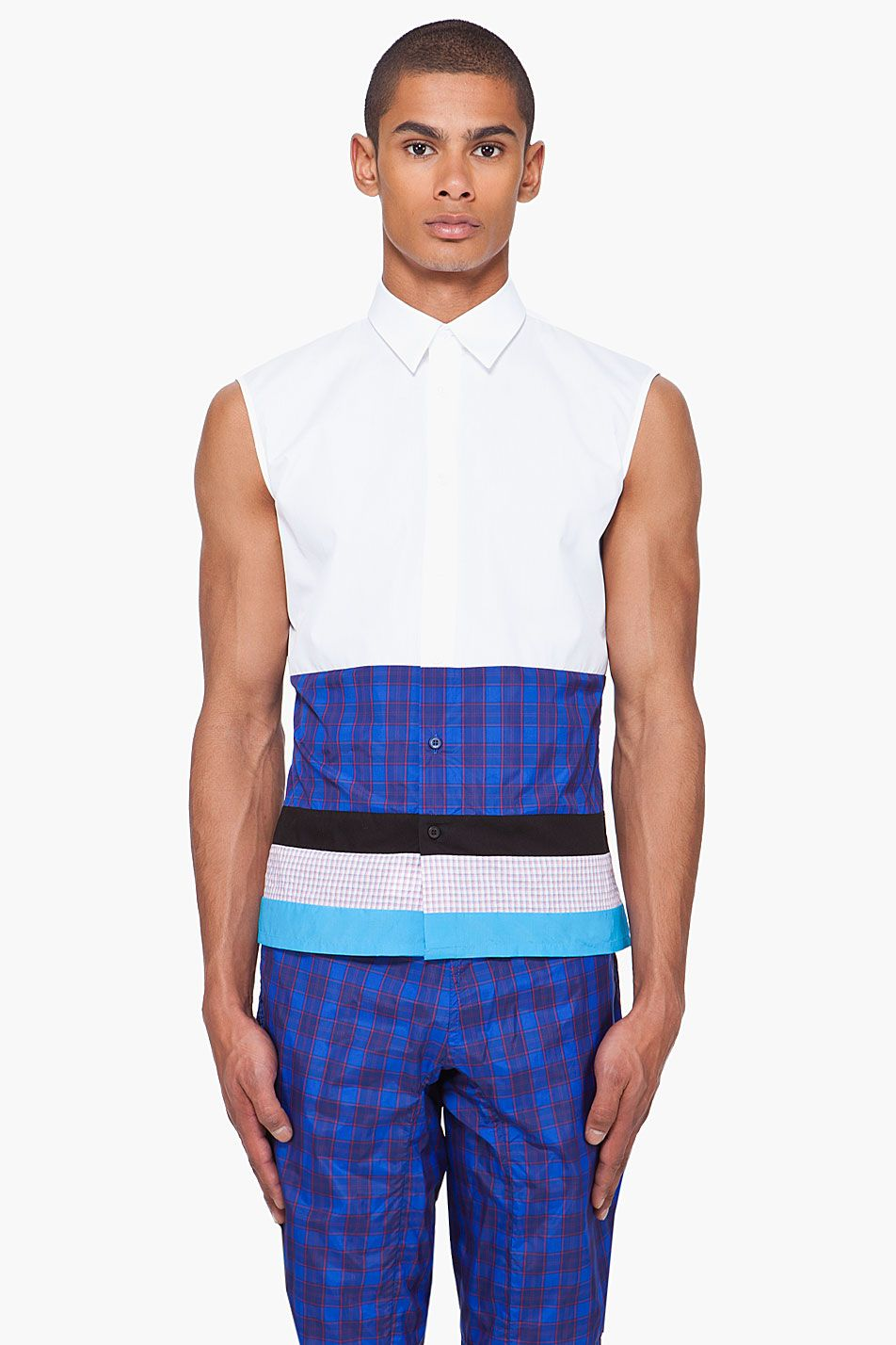 RAF SIMONS LAYERED BUTTONDOWN TANK TOP
