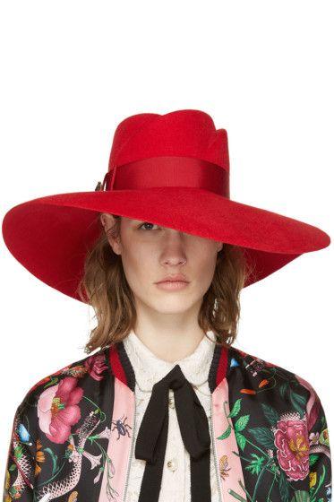 Gucci - Red Anita Fedora. Gucci - Red Anita Fedora Black Wide Brim Hat ... 72f54ff7cba