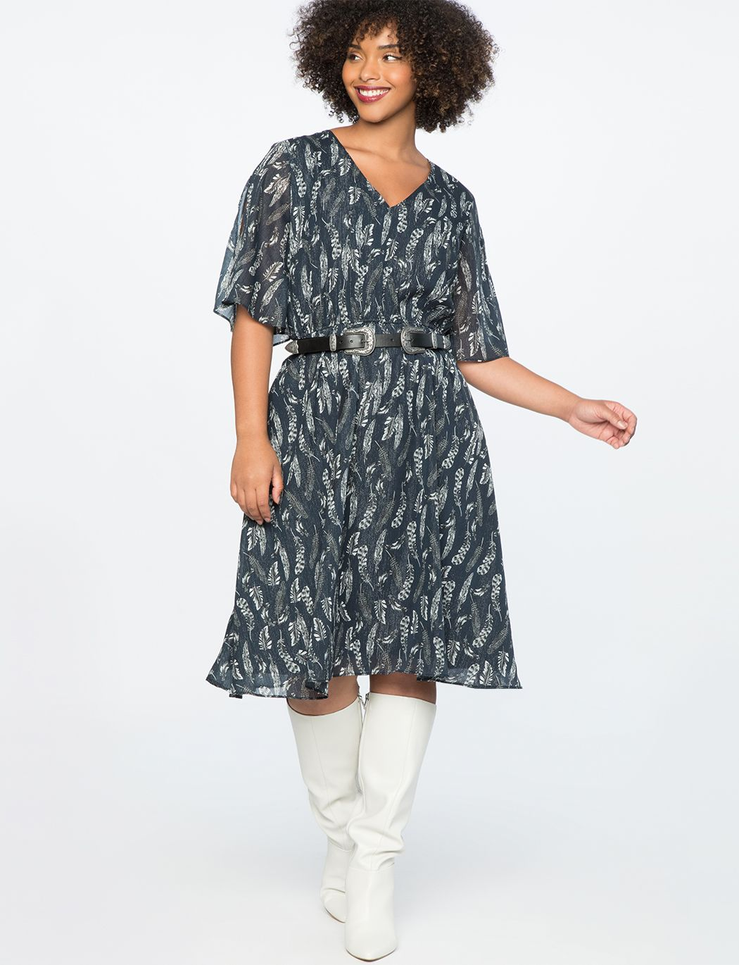 8bcb1a717f1 Slit Sleeve Fit and Flare Dress Stir Fly