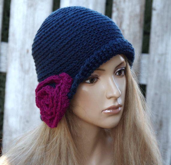 d363ff246d Crochet hat Womens trendy hat Navy blue Rose Handmade Cloche Hat Cloches  Knit Accessories Winter Hat flower Rose Hat Women Flower