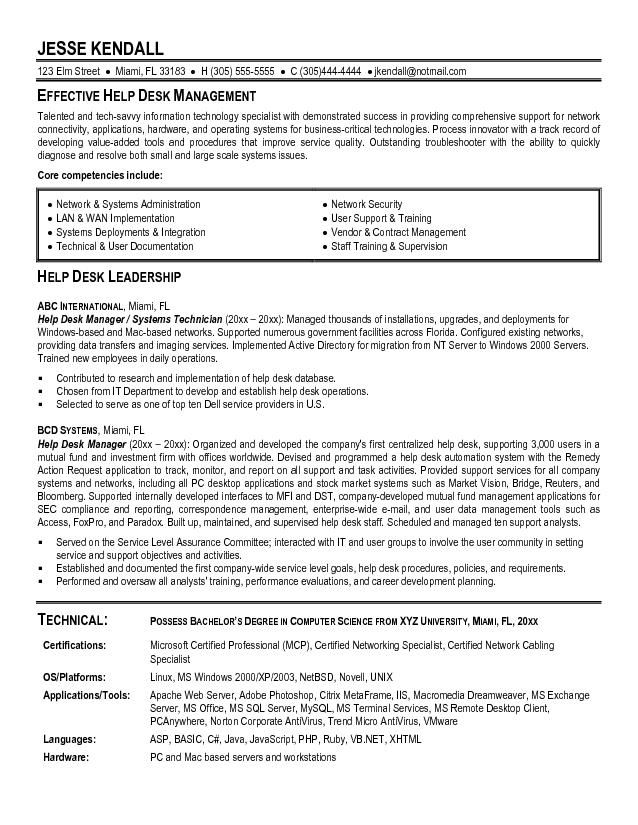 It Helpdesk Support Resume - Best opinion Money and Fun - network administrator resume sample
