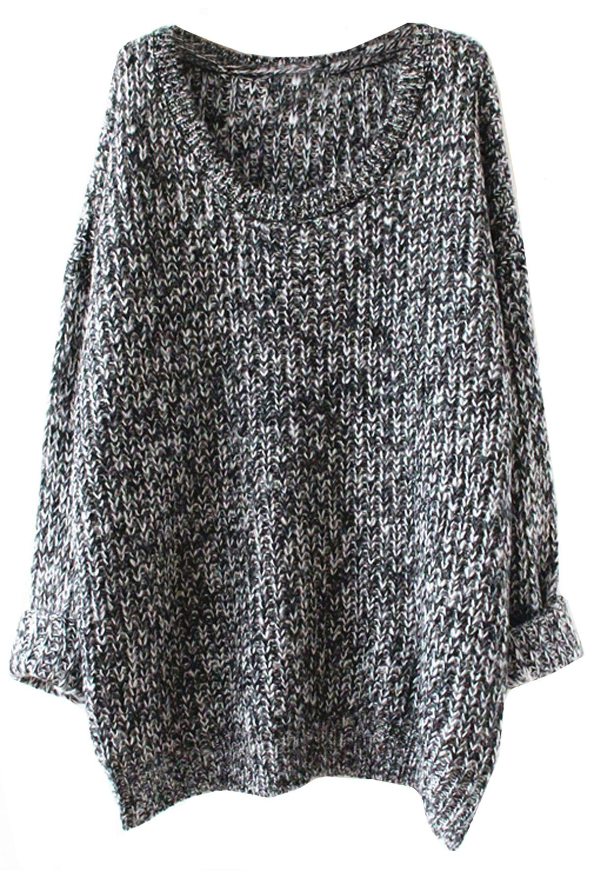 b48e923d3e66d4 SheIn Women s Grey Batwing Sleeve Oversized Pullover Knitted Sweater ...