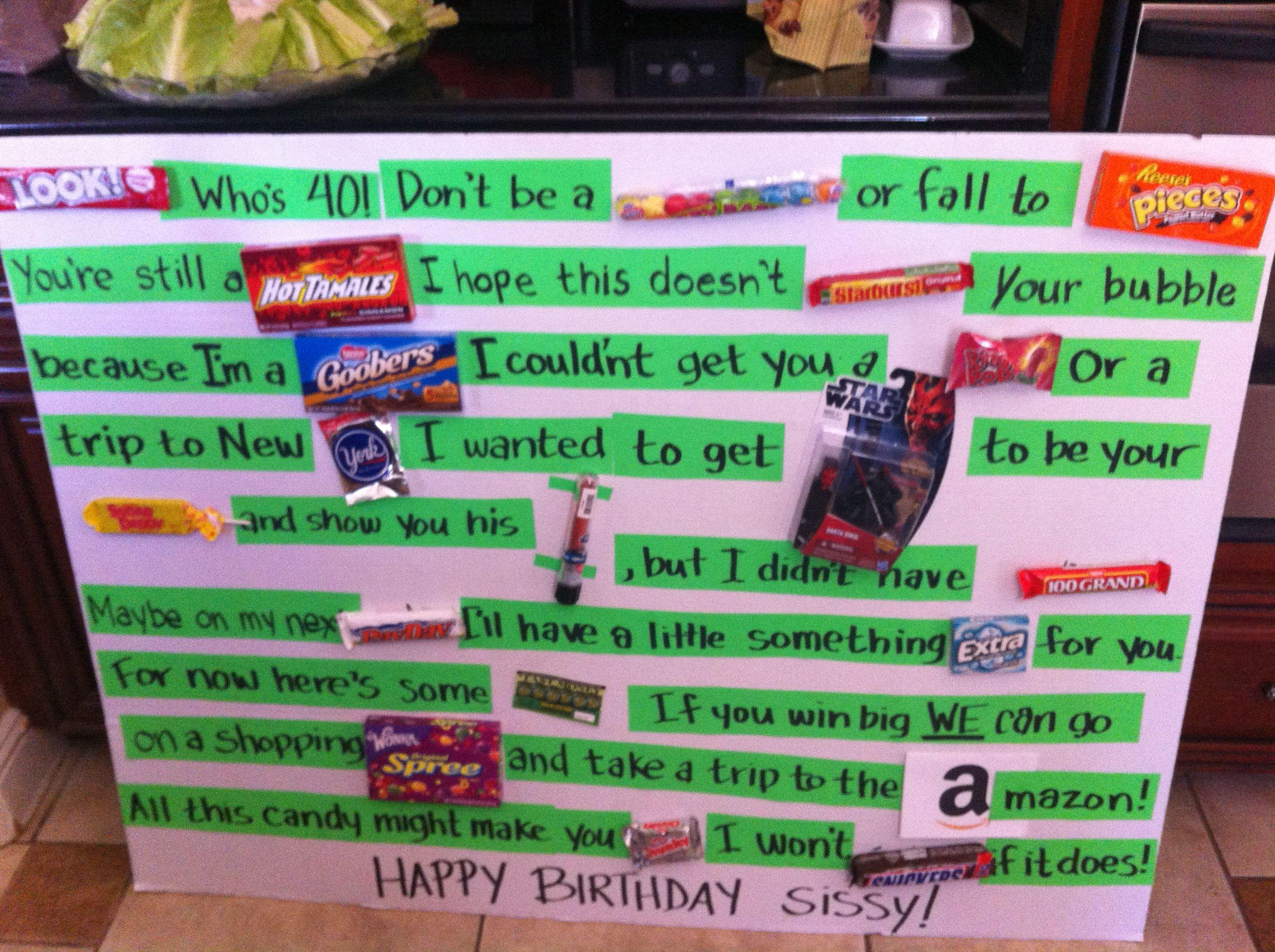 Candy bar birthday card for my sister 40th birthday