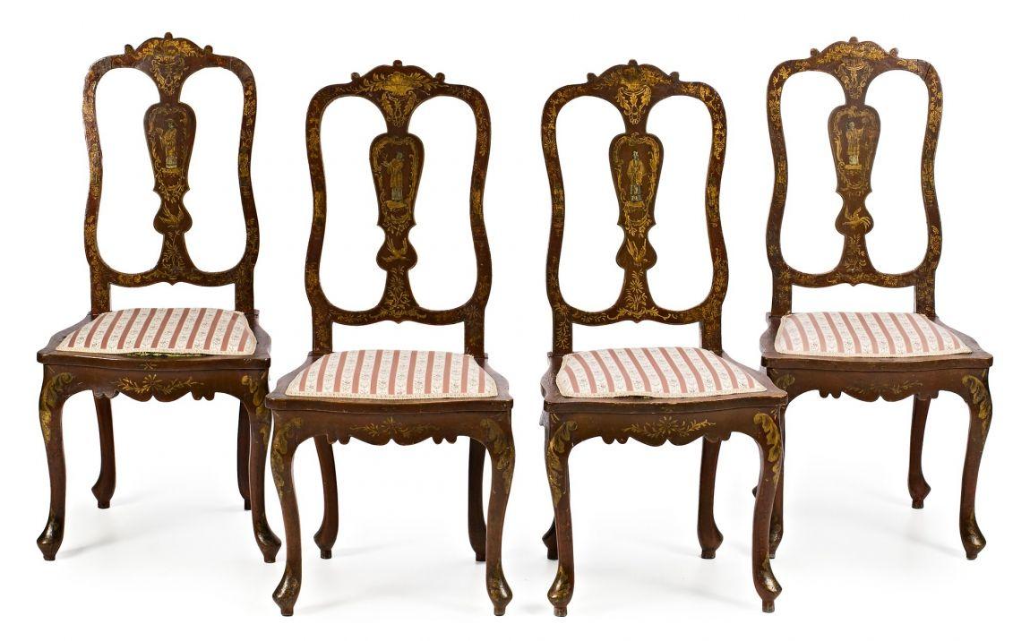 Juego de cuatro sillas de estilo reina ana en madera - Muebles siglo xxi ...