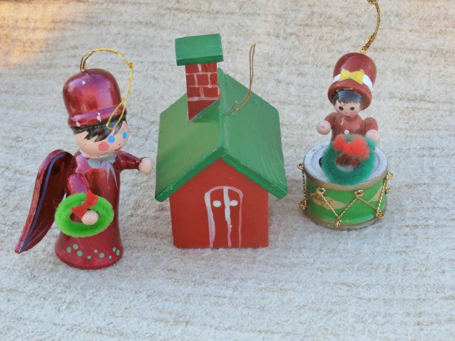 Wooden christmas ornaments lot red and green house red angel