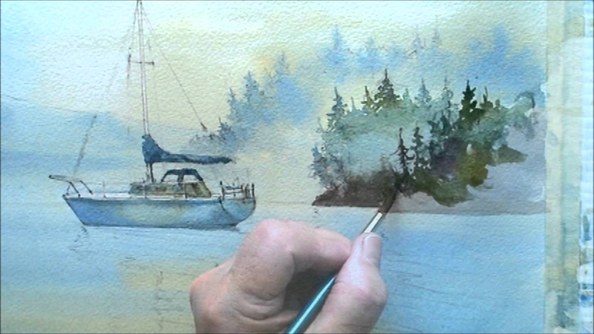 How To Paint Trees In The Mist Watercolor Paintings Tutorials