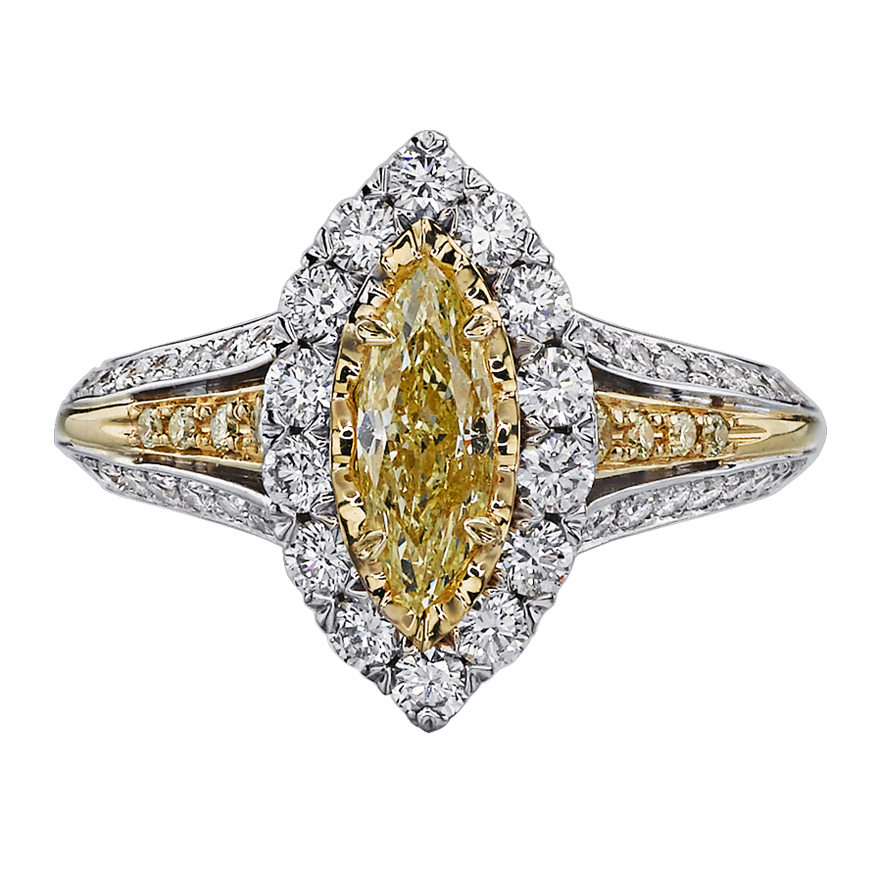 Christopher Designs Ring With 0 60ct Fancy Yellow Marquee Diamond Center 69r Mq