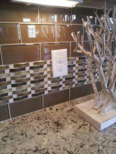 Subway Tile Back Splash With Decorative Strip Kitchen Tiles