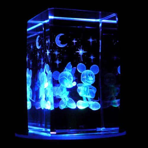 Mickey And Minnie Mouse 3d Laser Etched Crystal Display Light Base Ebay 21 95 Light Display Mickey Minnie Mouse Party