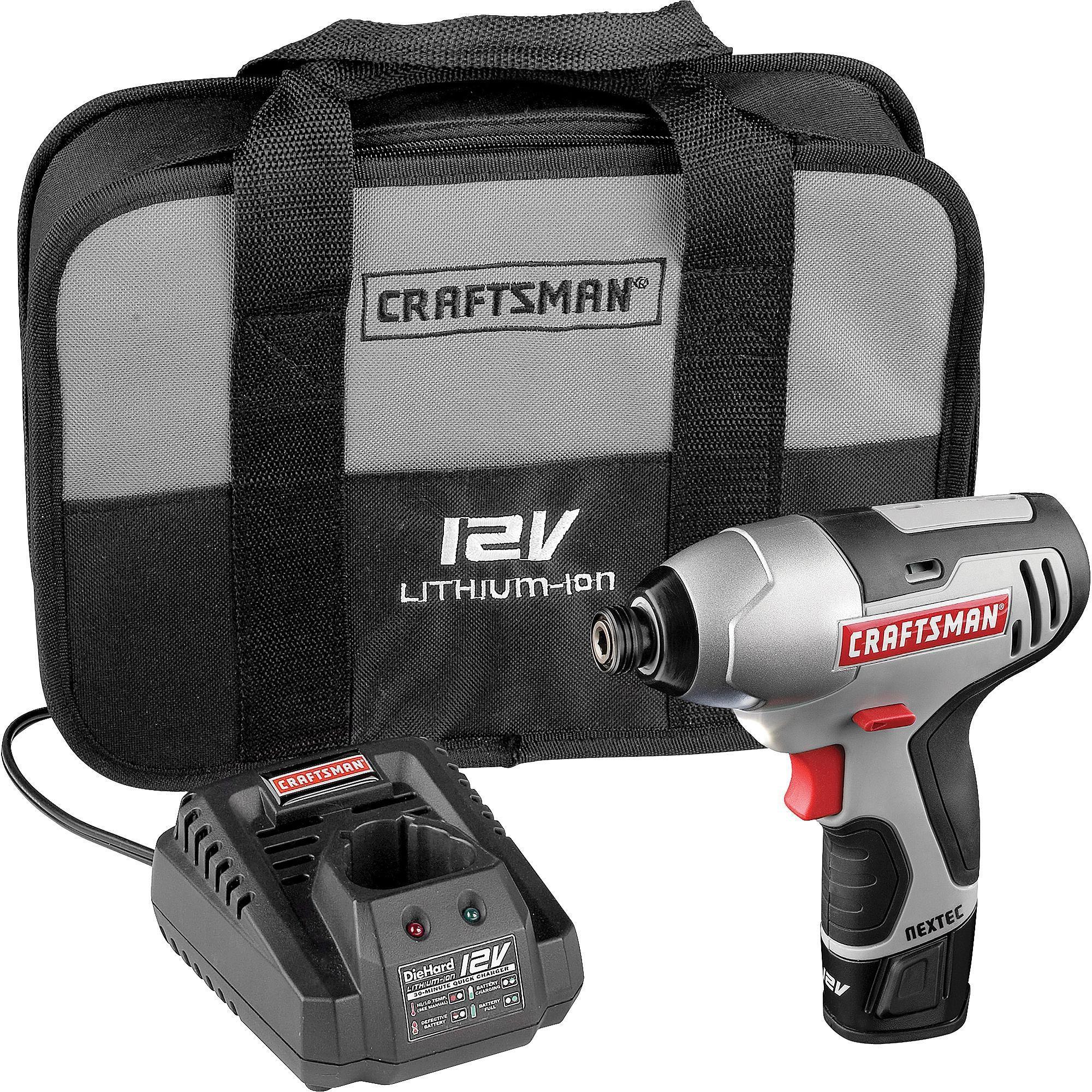 Craftsman Nextec 12v Cordless Compact 1 4 Impact Driver Gray Impact Driver Craftsman Cordless Drill