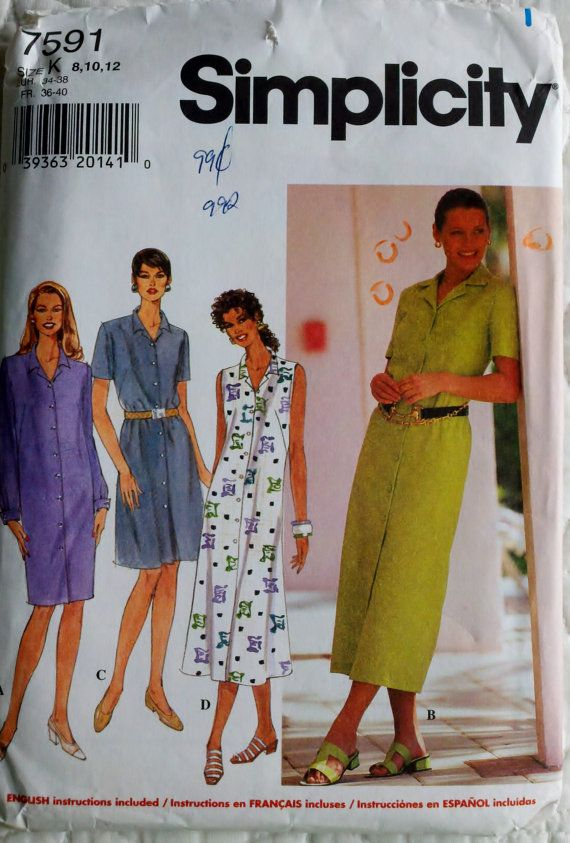 """Womens Sewing Pattern Button Down Dress Sleeveless, Long or Short Sleeves Simplicity 7591 Size 8-12 Bust 31.5-34"""" Uncut  (Vintage pattern - Etsy - $6)"""