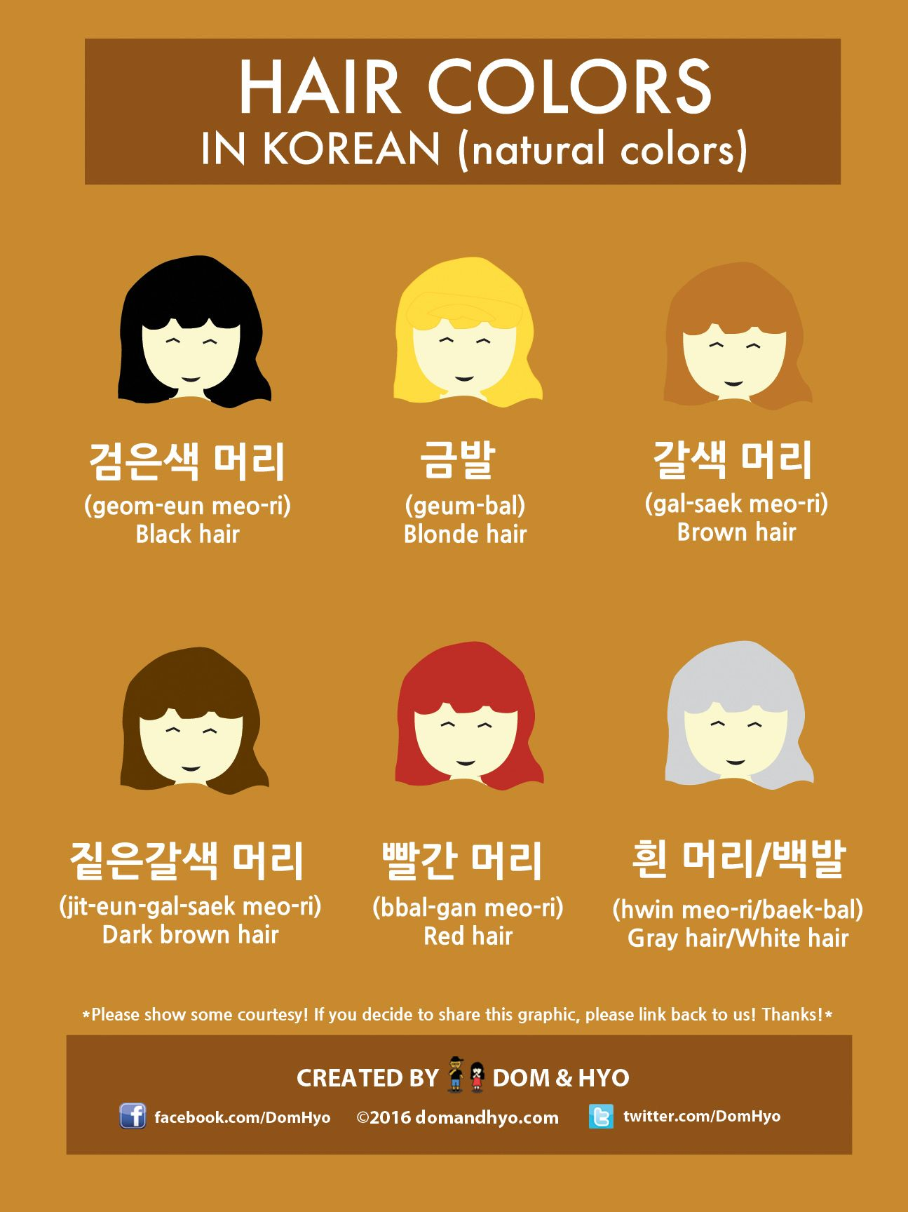 Here are the natural hair colors in Korean. We may do another one on other colors, but it's pretty simple. You just add whatever color the hair is a…
