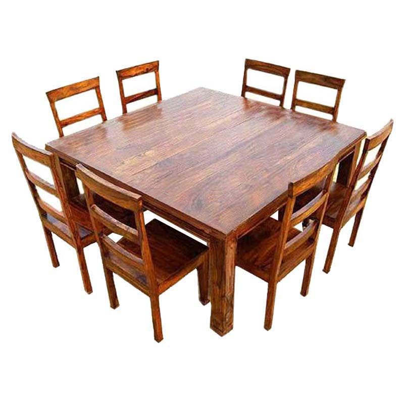 Appalachian Wood Rustic Square 9pc Dining Table And Chair Square