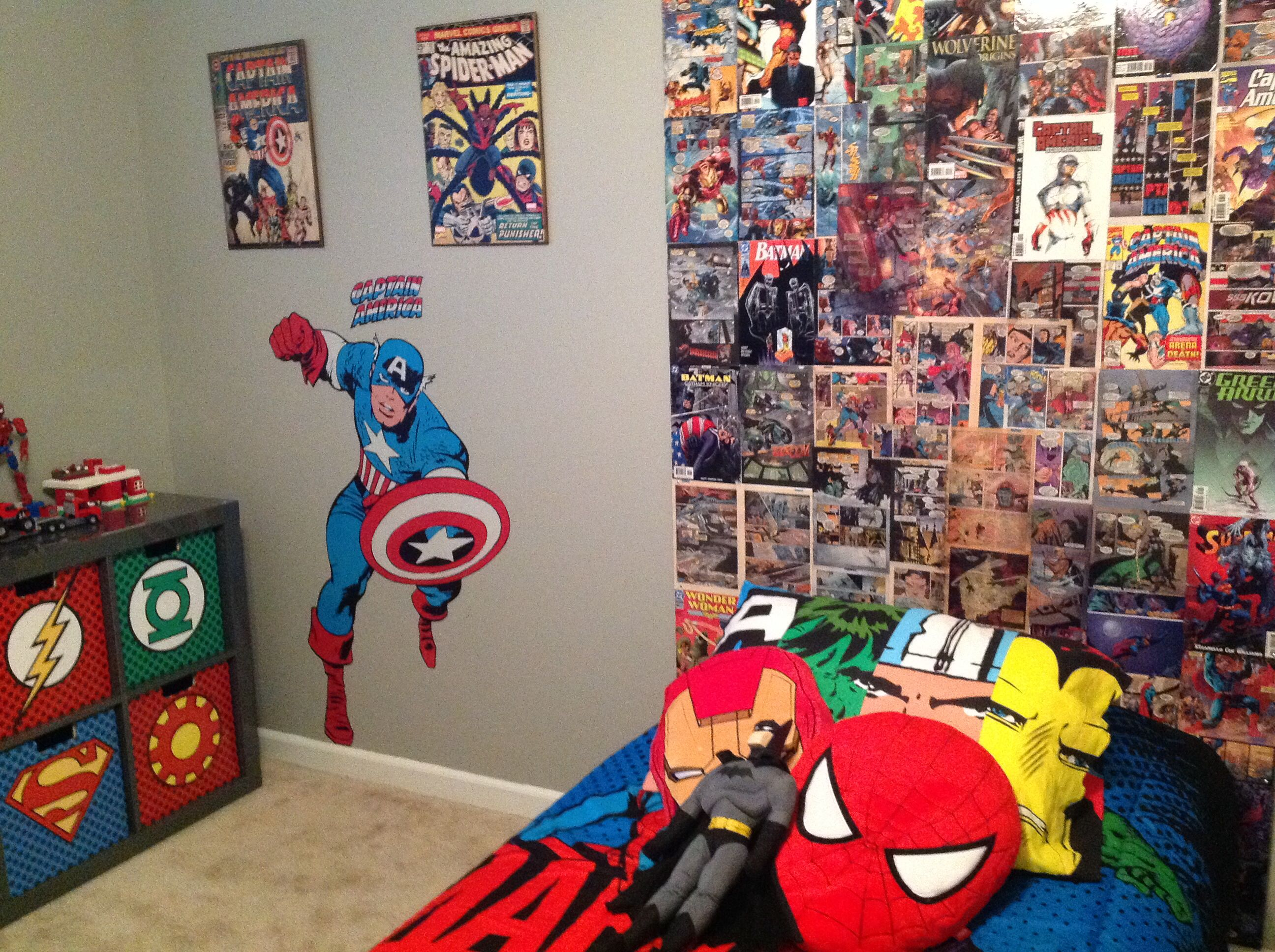 Marvel Comic Bedroom My Sons Super Hero Bedroom Homemade Backboard From Comic Books I