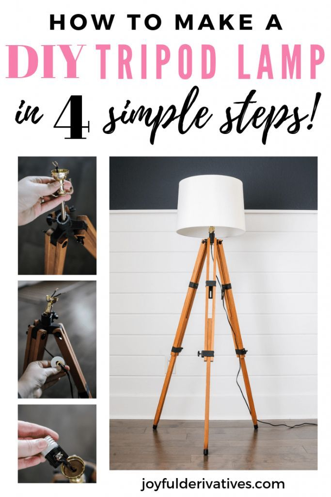 How To Make A Floor Lamp Out Of A Tripod Diy Floor Lamp Diy